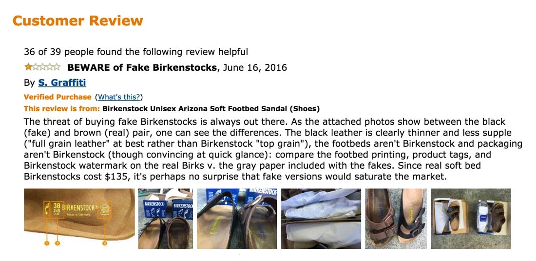 Counterfeit Birkenstocks on Amazon