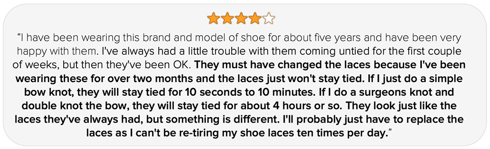 running shoe lace review example